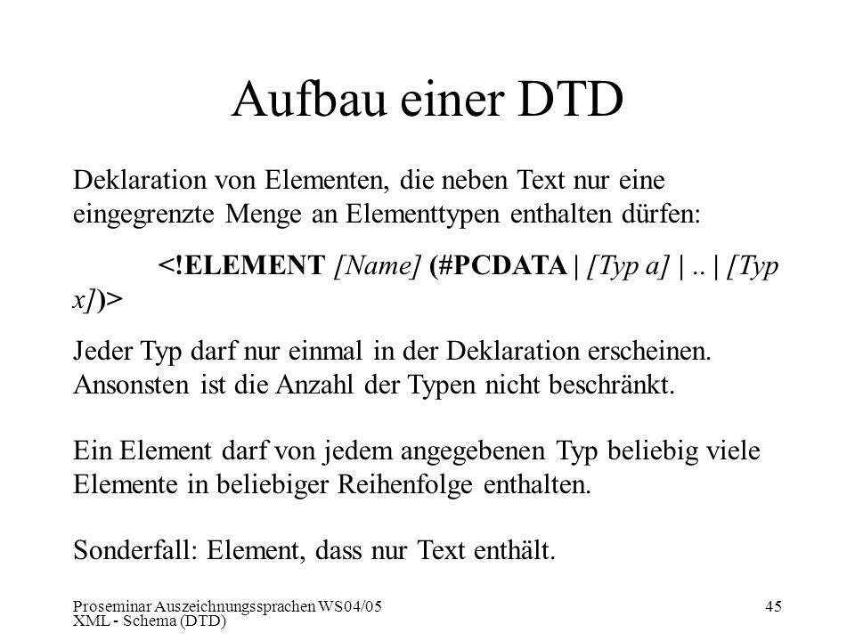 Aufbau einer DTD Deklaration von Elementen, die neben Text nur eine eingegrenzte Menge an Elementtypen enthalten dürfen: