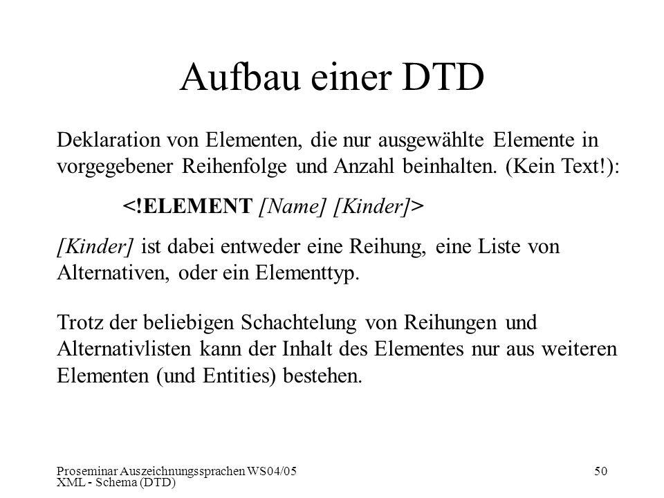 Aufbau einer DTD Deklaration von Elementen, die nur ausgewählte Elemente in vorgegebener Reihenfolge und Anzahl beinhalten. (Kein Text!):