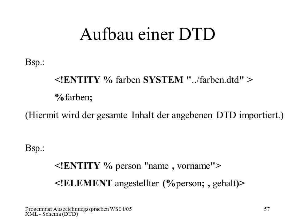 Aufbau einer DTD Bsp.: <!ENTITY % farben SYSTEM ../farben.dtd > %farben; (Hiermit wird der gesamte Inhalt der angebenen DTD importiert.)
