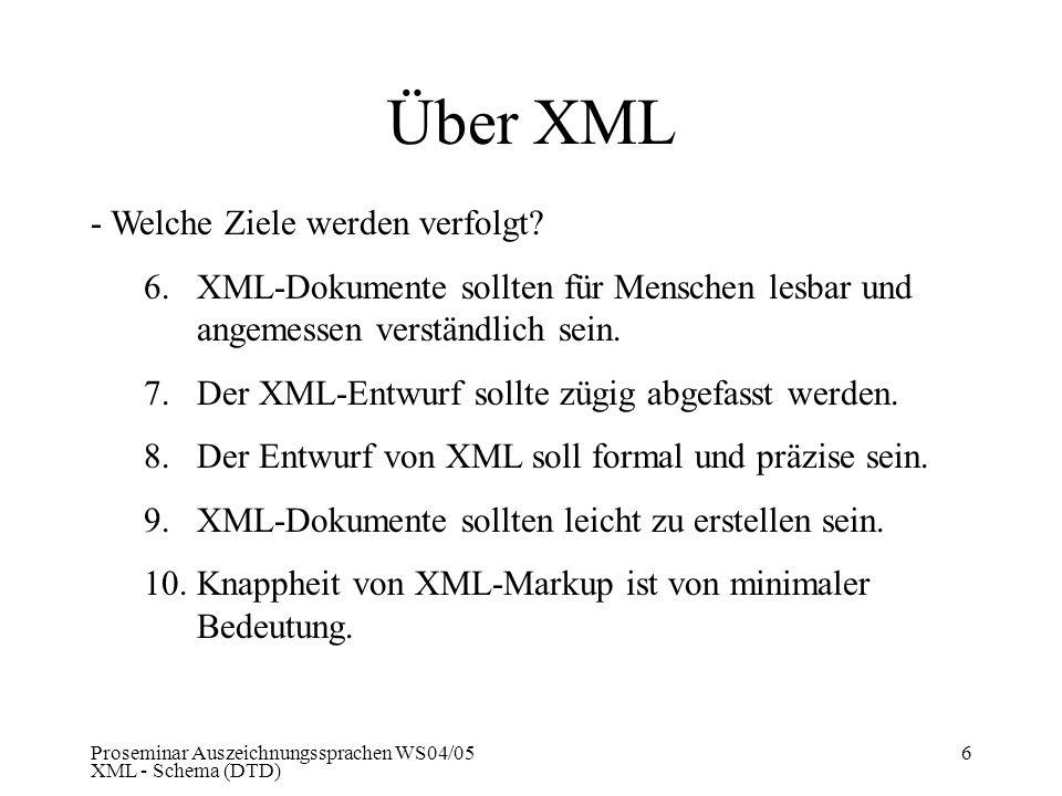 Über XML - Welche Ziele werden verfolgt