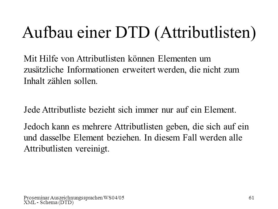 Aufbau einer DTD (Attributlisten)