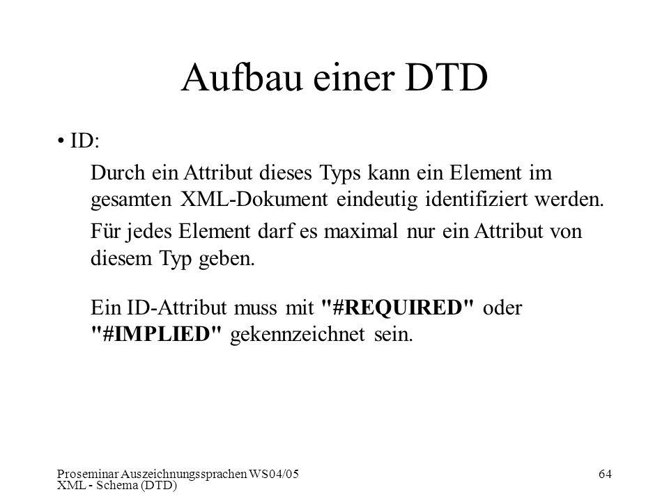 Aufbau einer DTD ID: Durch ein Attribut dieses Typs kann ein Element im gesamten XML-Dokument eindeutig identifiziert werden.