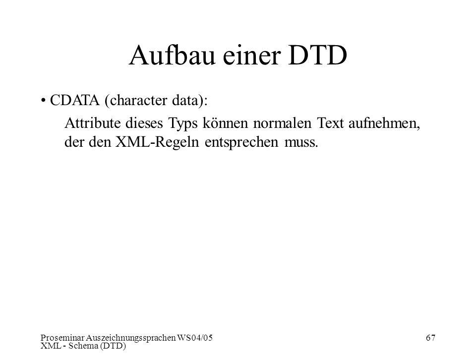 Aufbau einer DTD CDATA (character data):