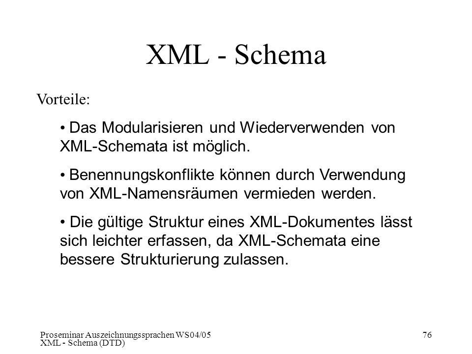 XML - Schema Vorteile: Das Modularisieren und Wiederverwenden von XML-Schemata ist möglich.