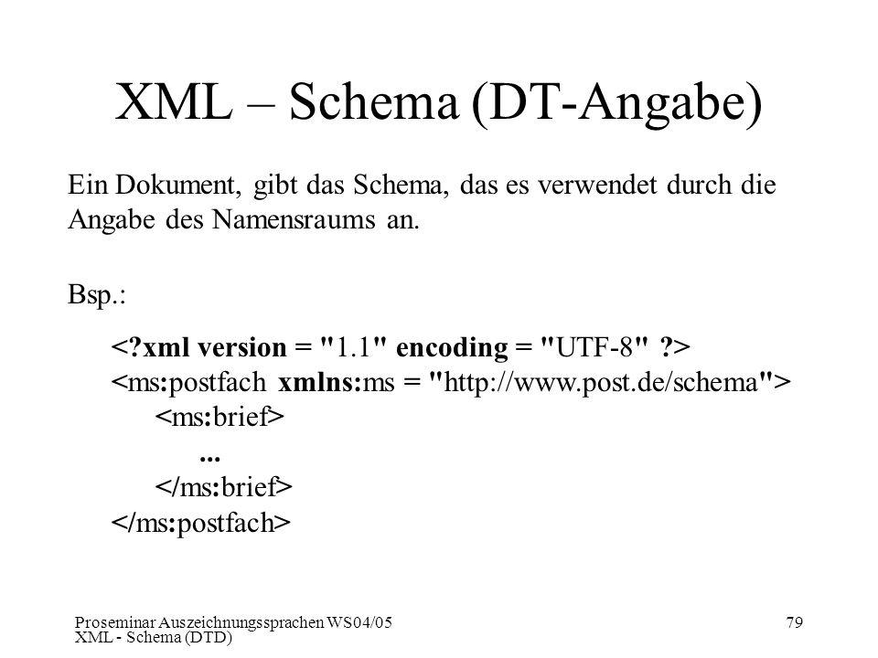 XML – Schema (DT-Angabe)
