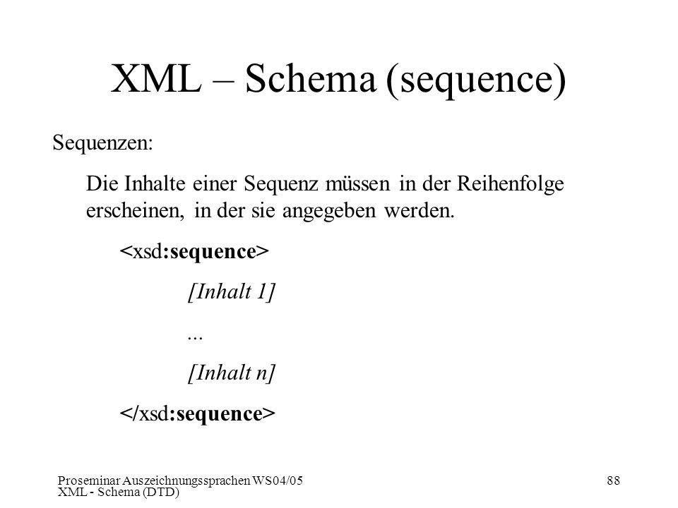XML – Schema (sequence)