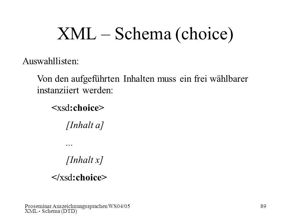 XML – Schema (choice) Auswahllisten: