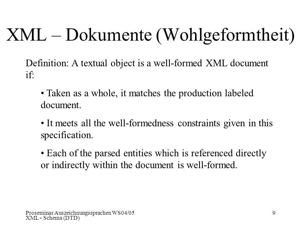 XML – Dokumente (Wohlgeformtheit)