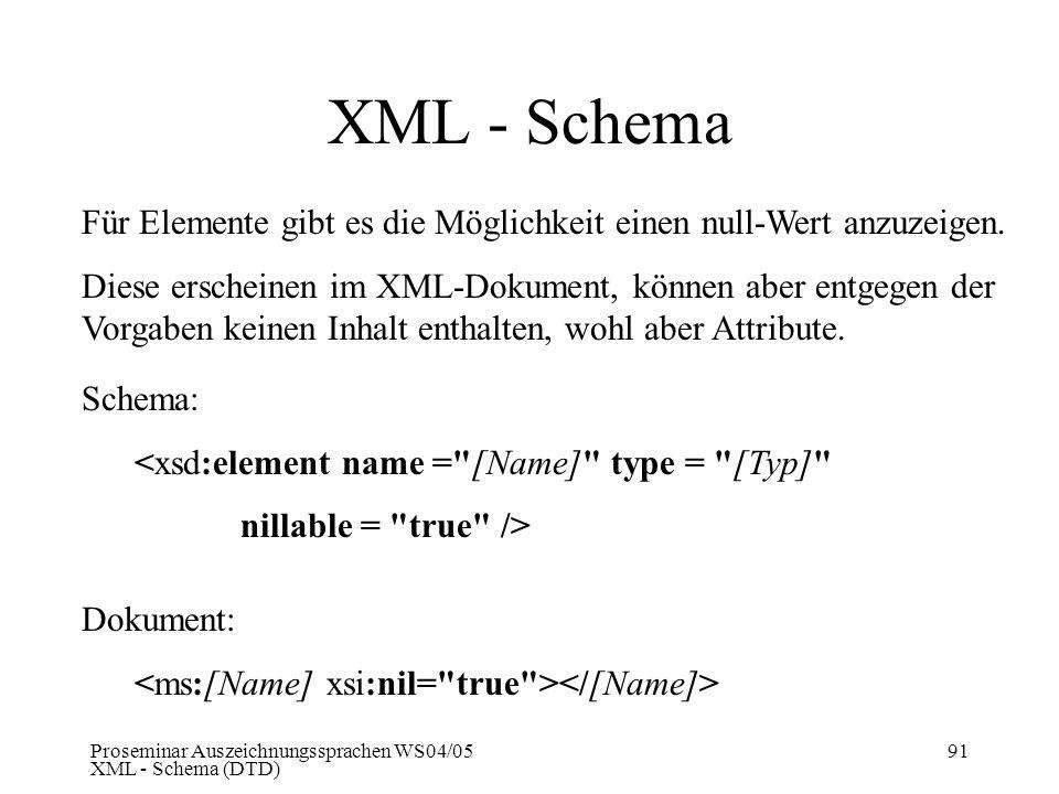 XML - Schema Für Elemente gibt es die Möglichkeit einen null-Wert anzuzeigen.