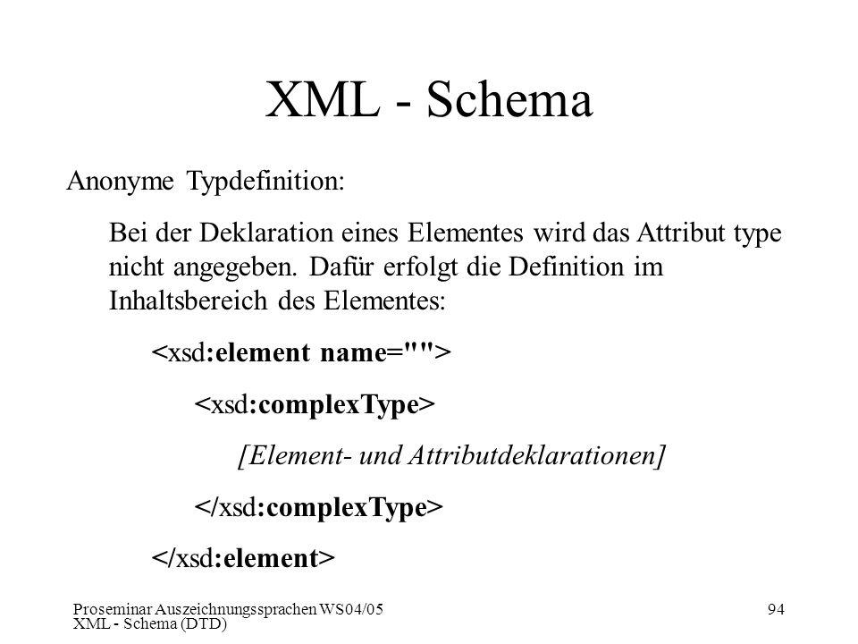 XML - Schema Anonyme Typdefinition: