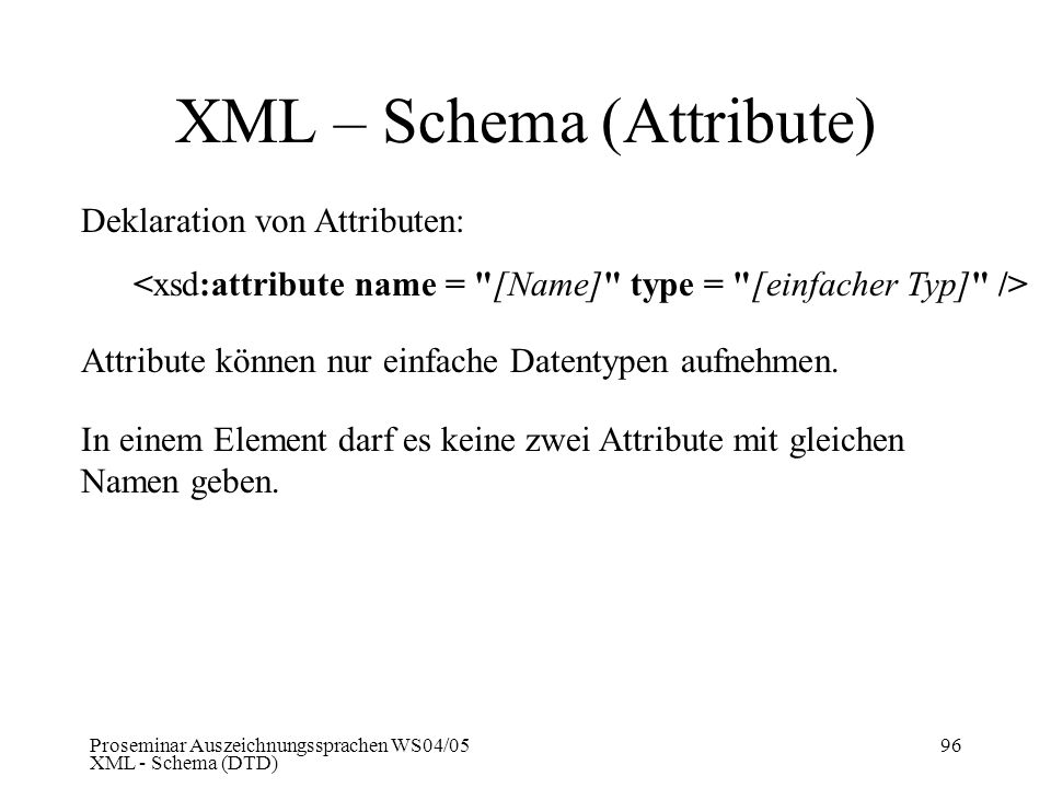 XML – Schema (Attribute)