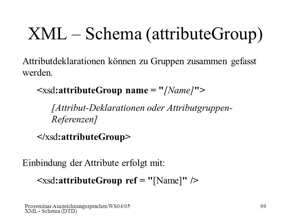 XML – Schema (attributeGroup)