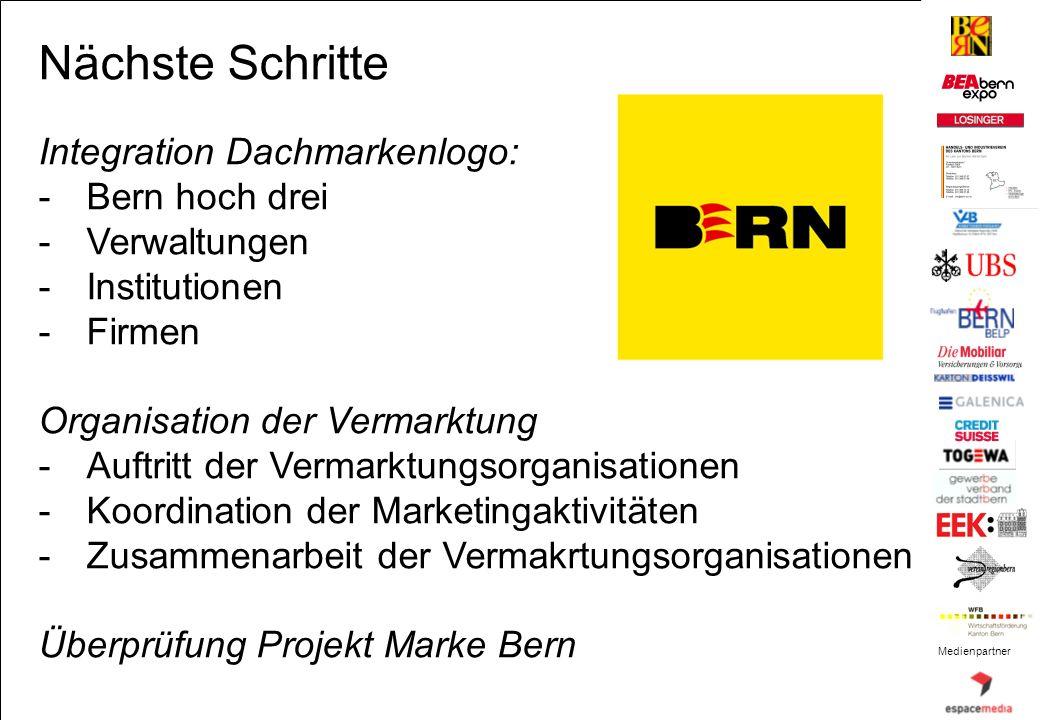 Nächste Schritte Integration Dachmarkenlogo: Bern hoch drei