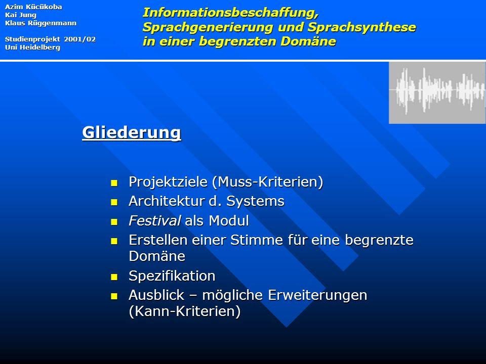 Gliederung Projektziele (Muss-Kriterien) Architektur d. Systems