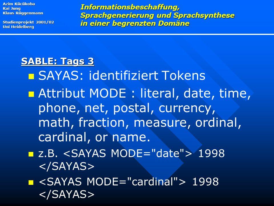 SAYAS: identifiziert Tokens