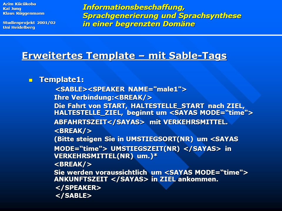 Erweitertes Template – mit Sable-Tags