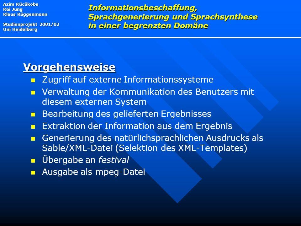 Vorgehensweise Zugriff auf externe Informationssysteme