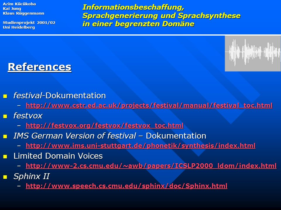 References festival-Dokumentation festvox