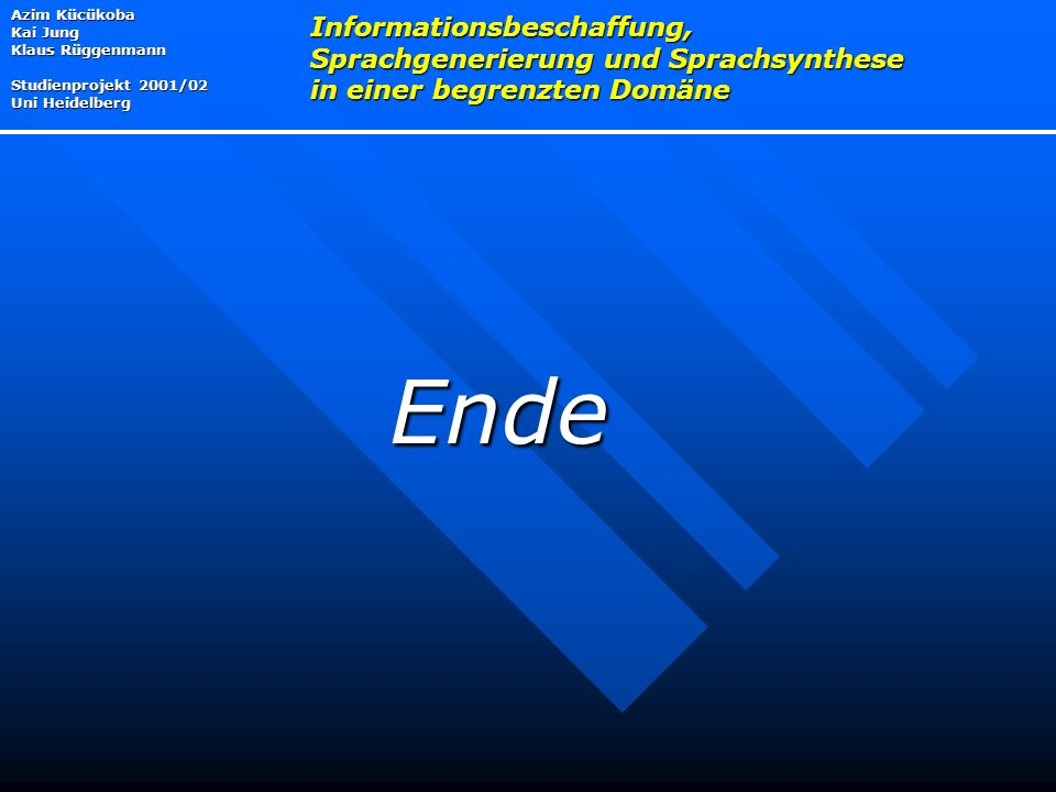 Azim Kücükoba Kai Jung Klaus Rüggenmann Studienprojekt 2001/02 Uni Heidelberg