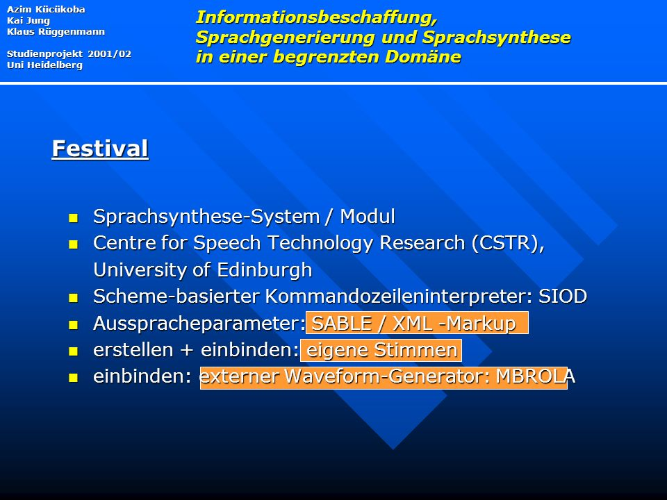 Festival Sprachsynthese-System / Modul