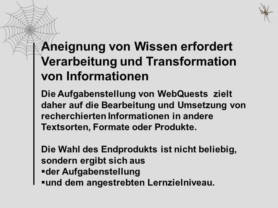Aneignung von Wissen erfordert Verarbeitung und Transformation von Informationen