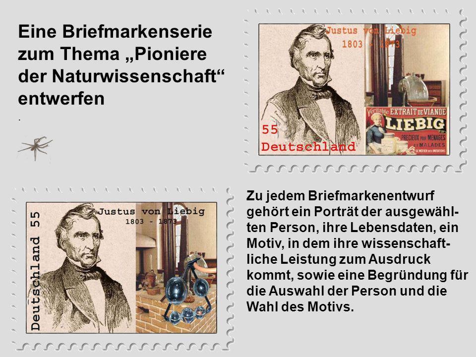 """Eine Briefmarkenserie zum Thema """"Pioniere der Naturwissenschaft entwerfen"""