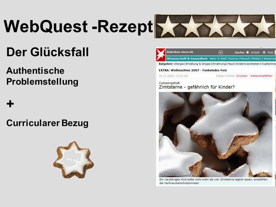 WebQuest -Rezept + Der Glücksfall Authentische Problemstellung