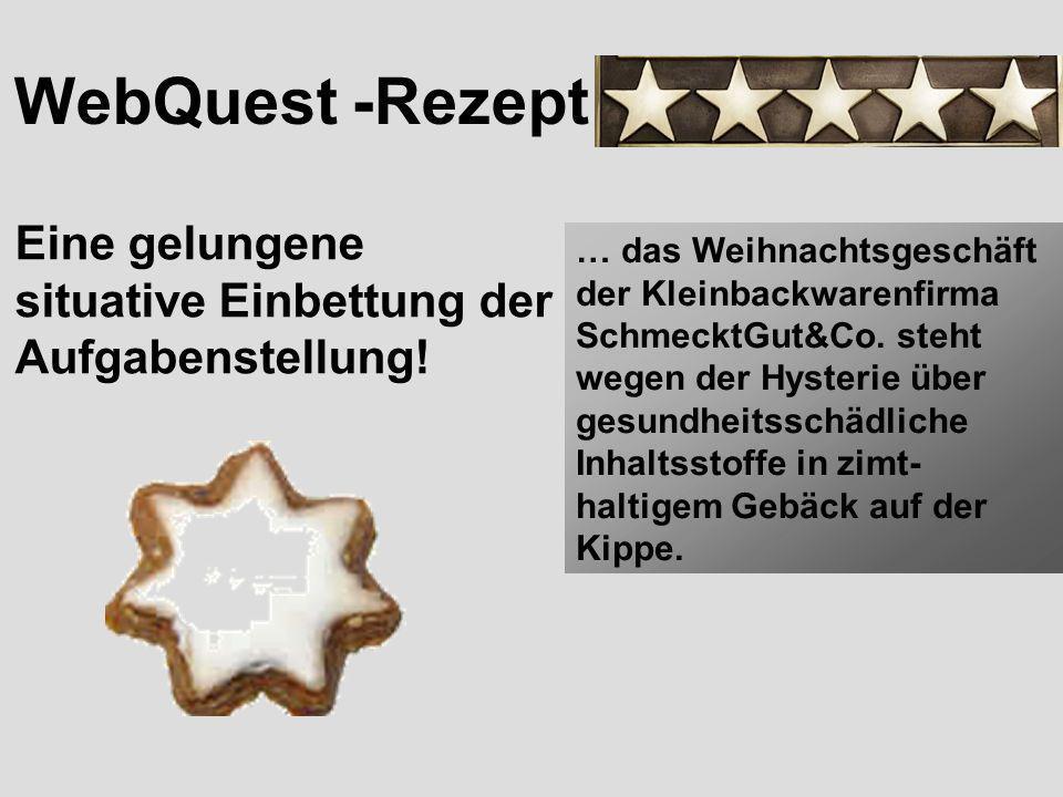 WebQuest -Rezept Eine gelungene situative Einbettung der Aufgabenstellung!