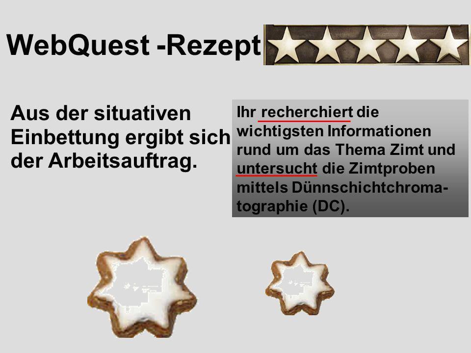 WebQuest -Rezept Aus der situativen Einbettung ergibt sich der Arbeitsauftrag.