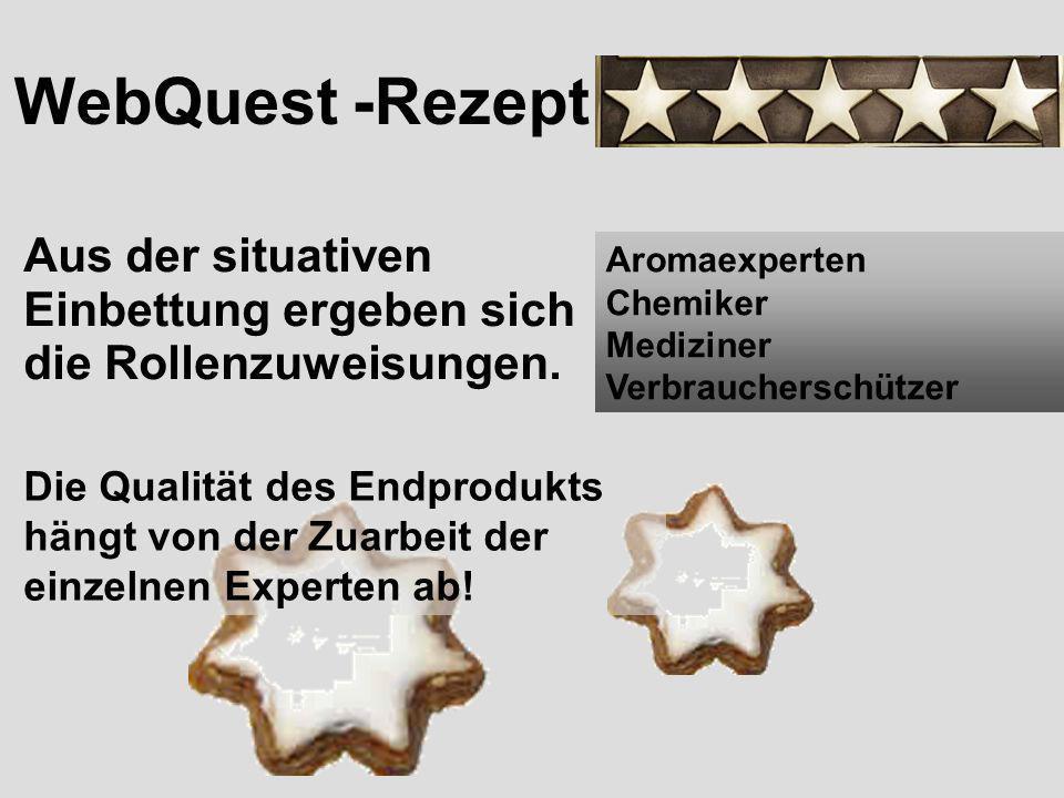 WebQuest -Rezept Aus der situativen Einbettung ergeben sich die Rollenzuweisungen. Aromaexperten.
