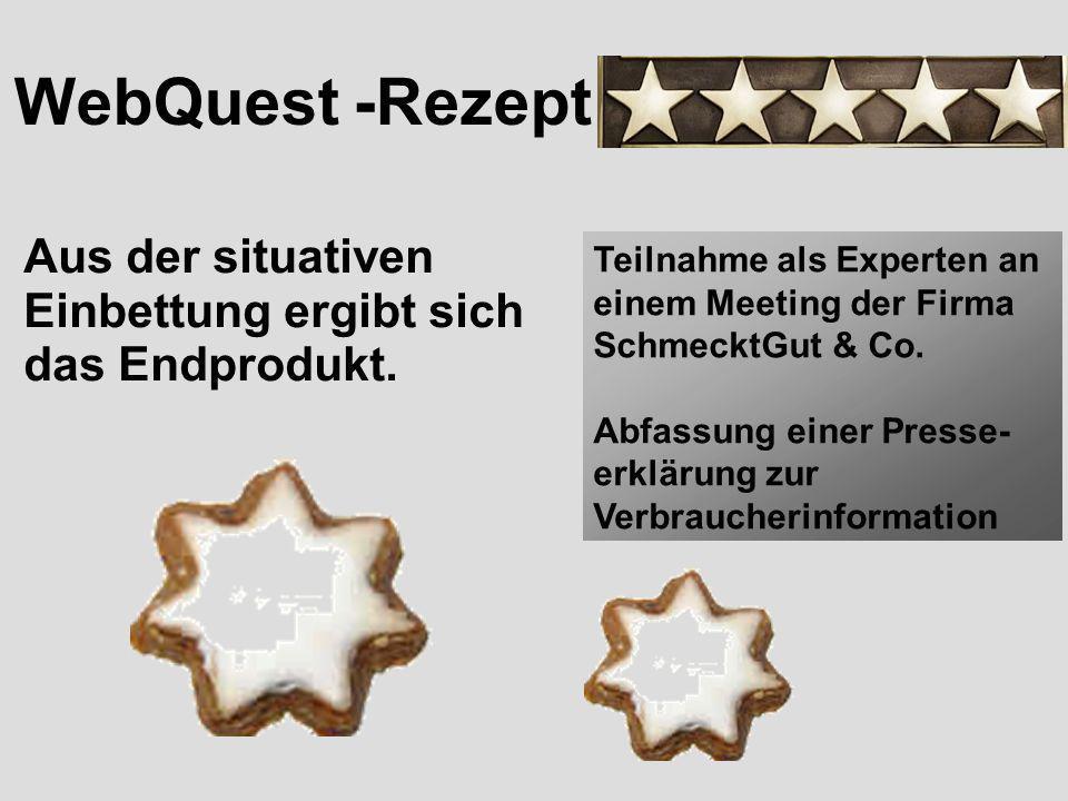 WebQuest -Rezept Aus der situativen Einbettung ergibt sich das Endprodukt. Teilnahme als Experten an einem Meeting der Firma SchmecktGut & Co.