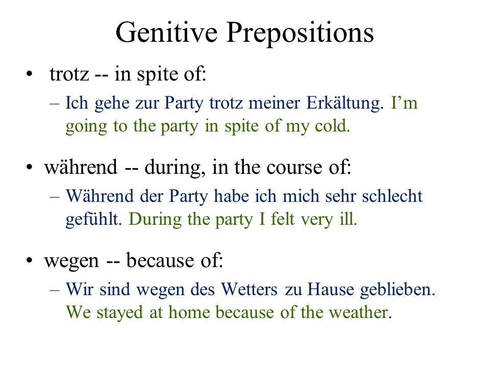 Genitive Prepositions