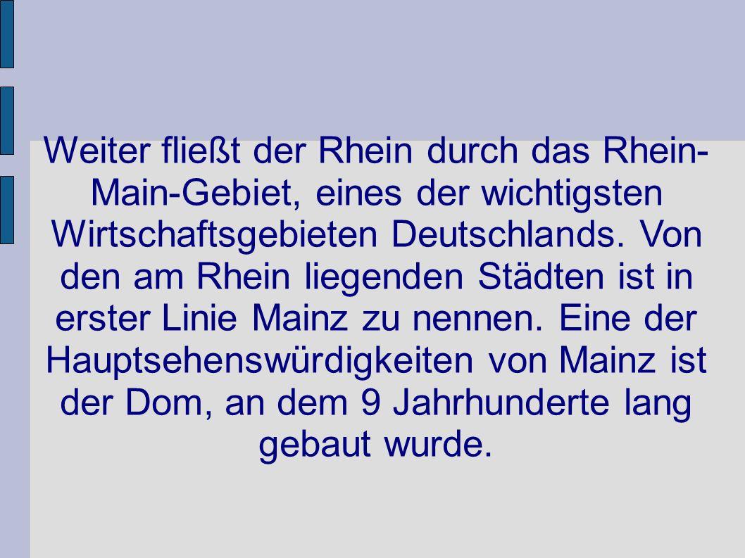 Weiter fließt der Rhein durch das Rhein- Main-Gebiet, eines der wichtigsten Wirtschaftsgebieten Deutschlands.
