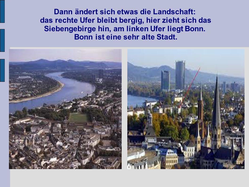 Dann ändert sich etwas die Landschaft: das rechte Ufer bleibt bergig, hier zieht sich das Siebengebirge hin, am linken Ufer liegt Bonn.