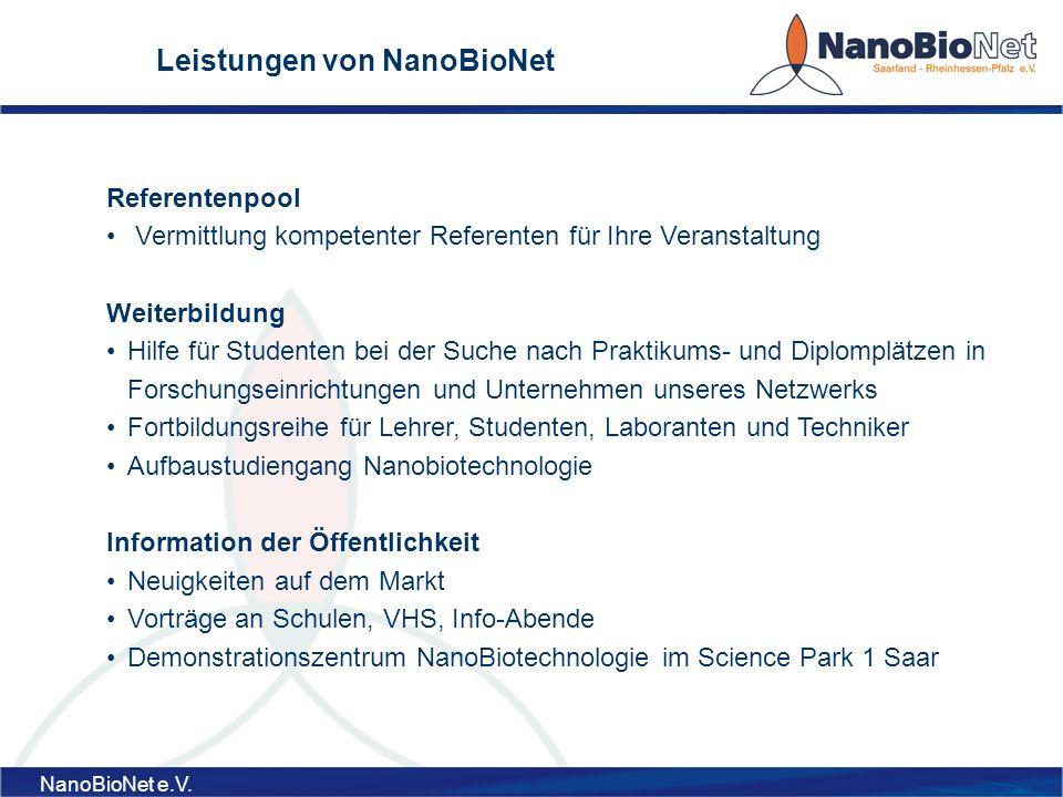 Leistungen von NanoBioNet
