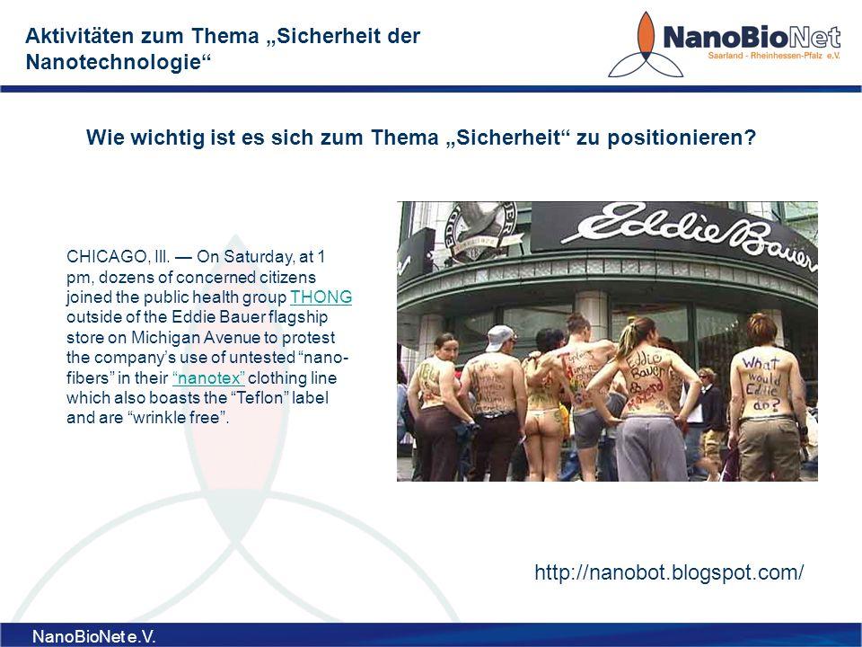 """Aktivitäten zum Thema """"Sicherheit der Nanotechnologie"""