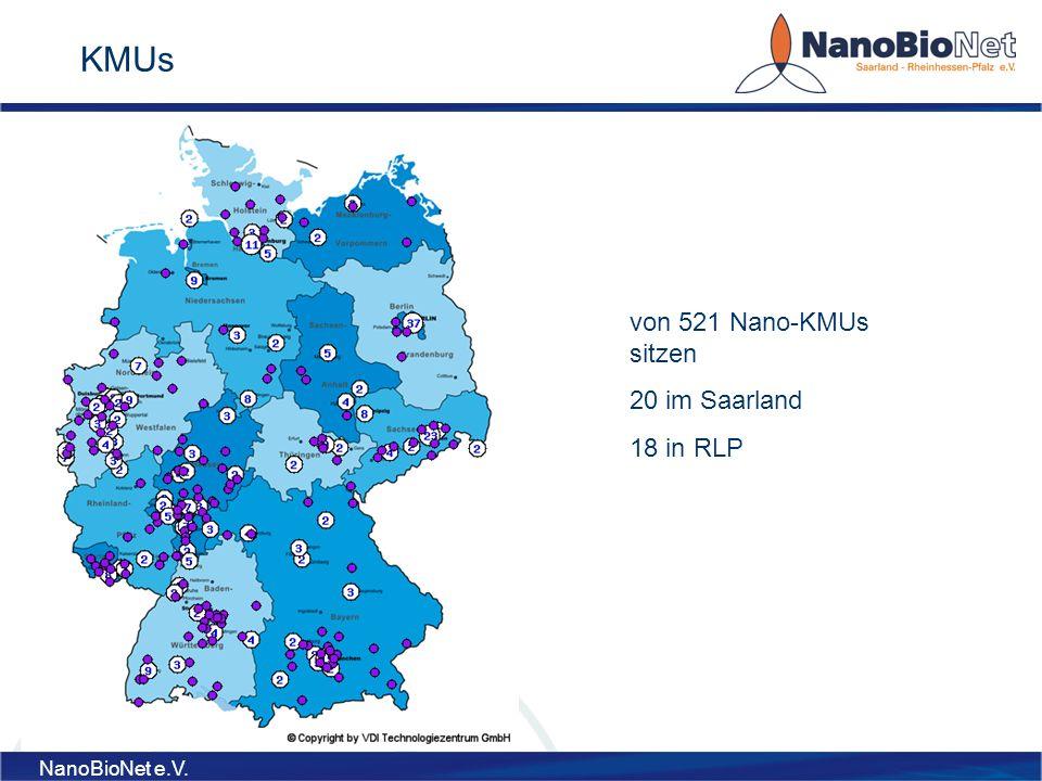 KMUs von 521 Nano-KMUs sitzen 20 im Saarland 18 in RLP NanoBioNet e.V.