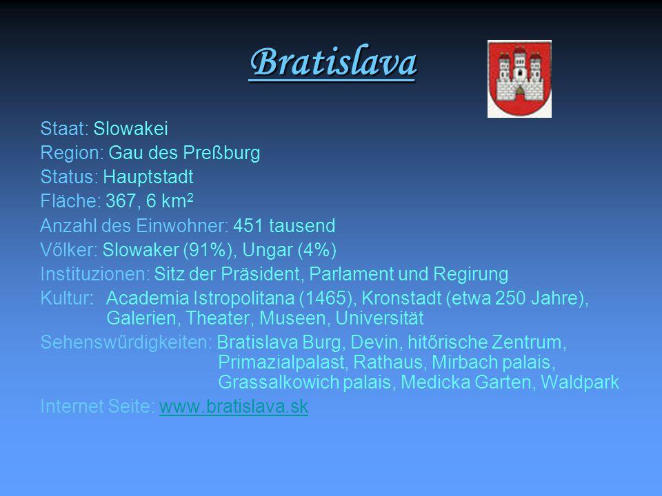 Bratislava Staat: Slowakei Region: Gau des Preßburg Status: Hauptstadt