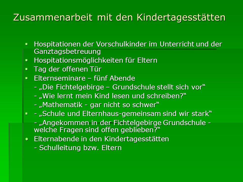 Zusammenarbeit mit den Kindertagesstätten