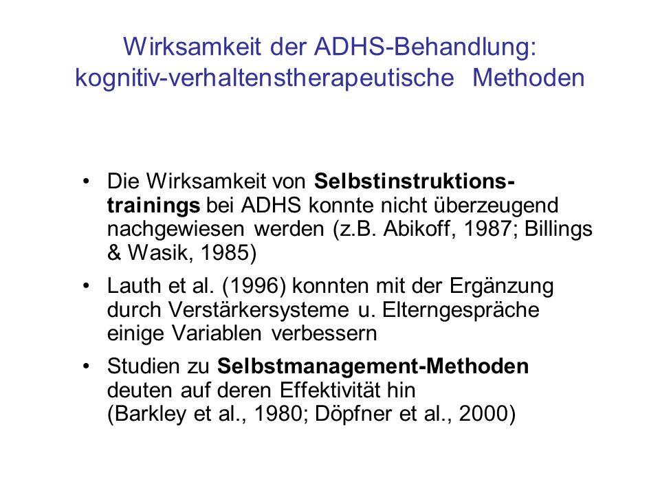 Wirksamkeit der ADHS-Behandlung: kognitiv-verhaltenstherapeutische Methoden