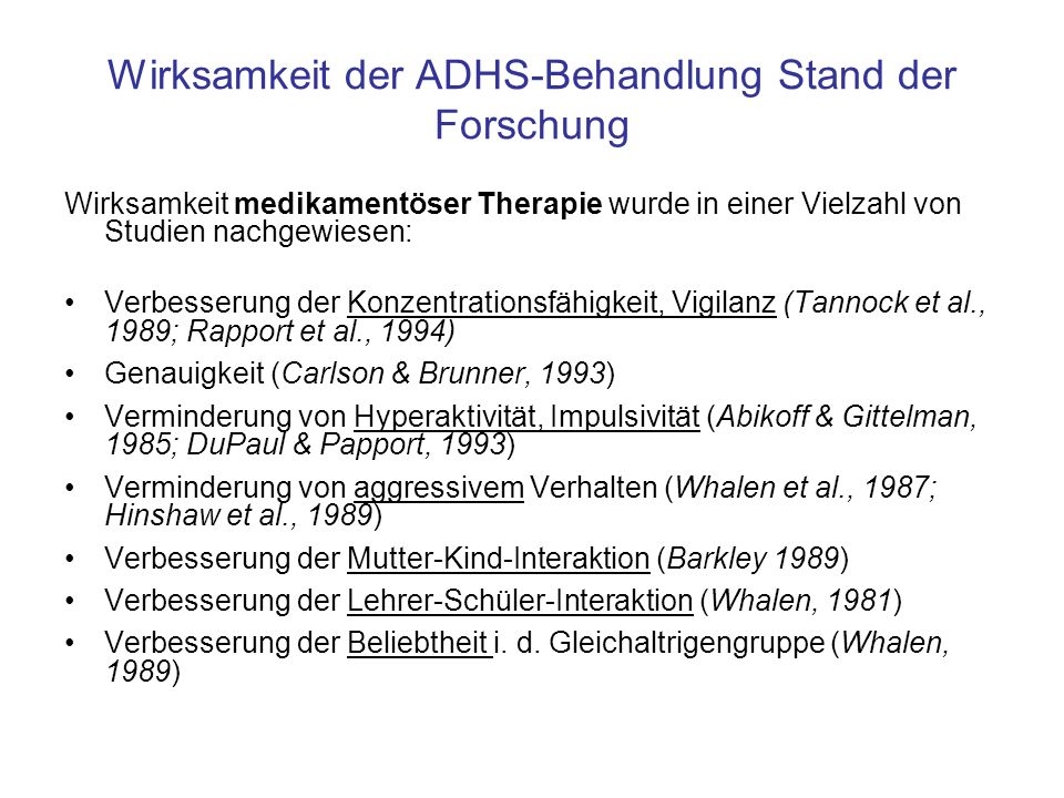 Wirksamkeit der ADHS-Behandlung Stand der Forschung