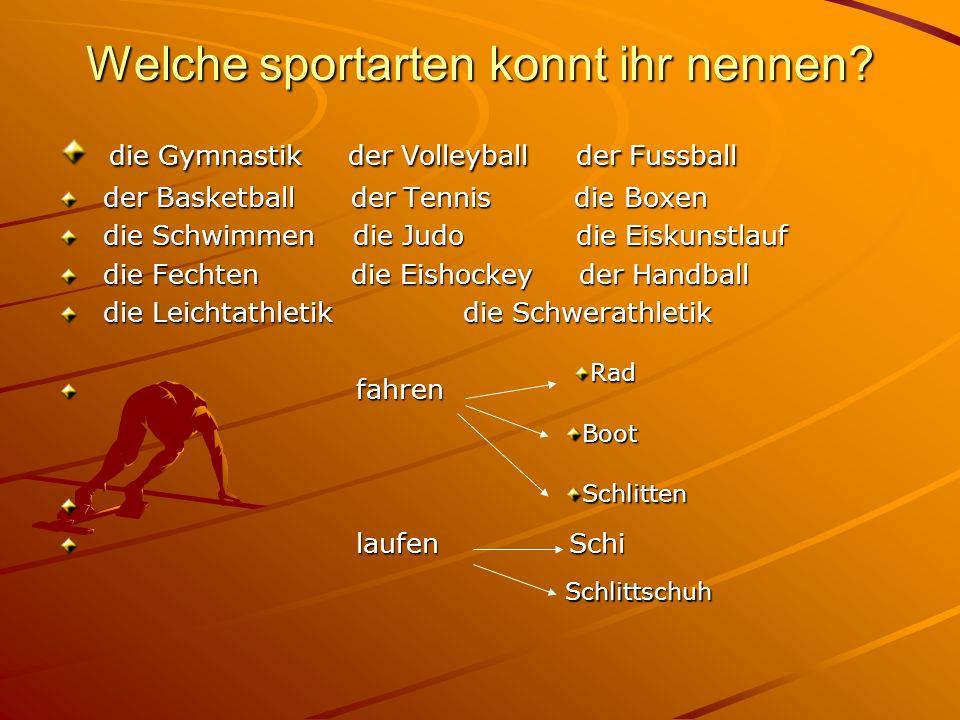 Welche sportarten konnt ihr nennen