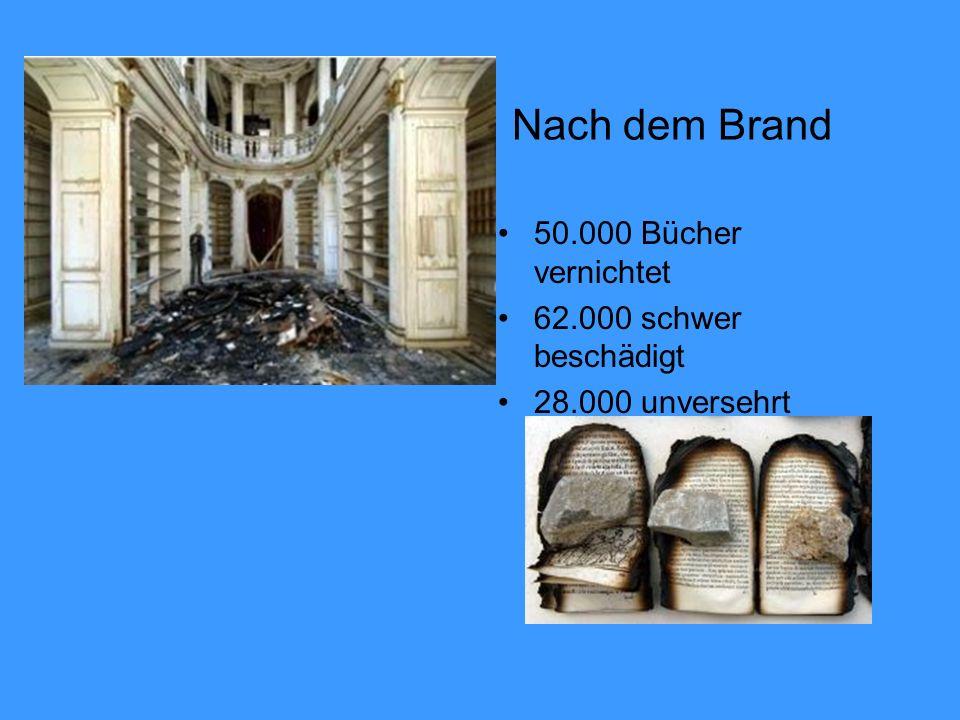 Nach dem Brand 50.000 Bücher vernichtet 62.000 schwer beschädigt