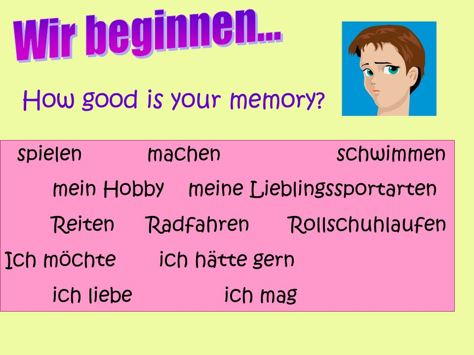 Wir beginnen... How good is your memory spielen machen schwimmen