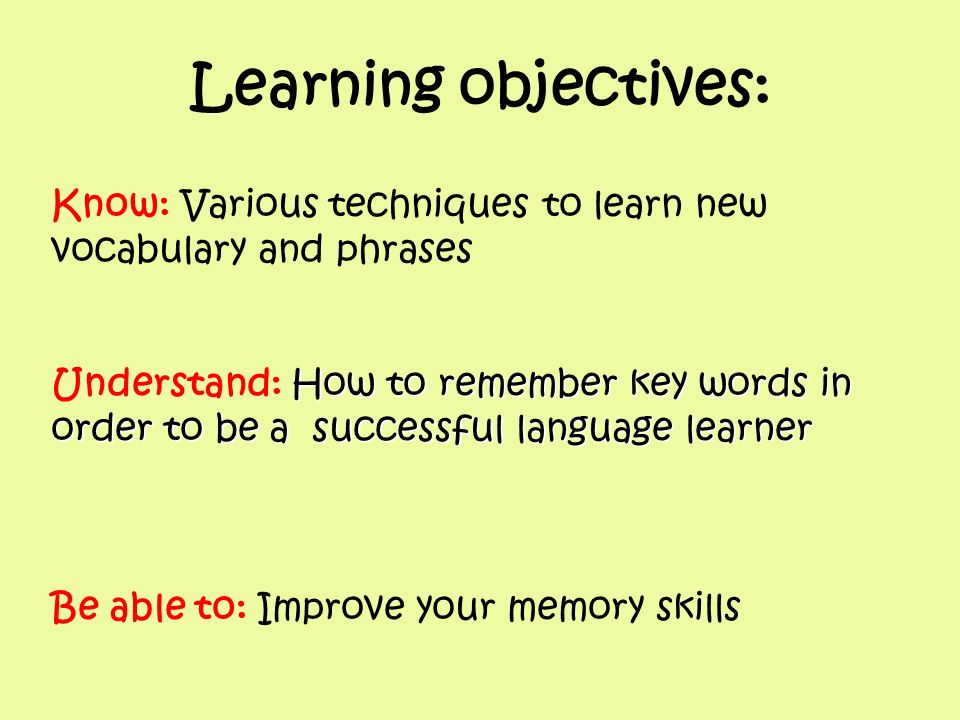 Learning objectives: Know: Various techniques to learn new