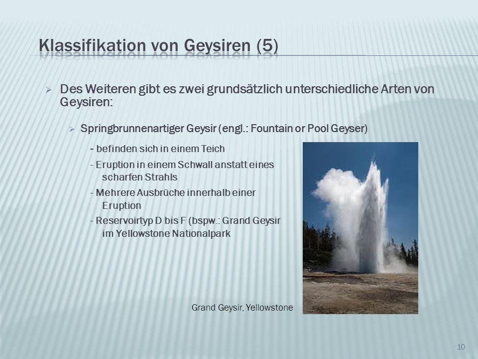 Klassifikation von Geysiren (5)