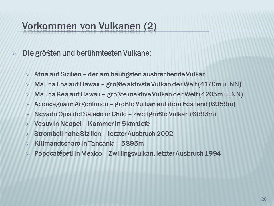 Vorkommen von Vulkanen (2)