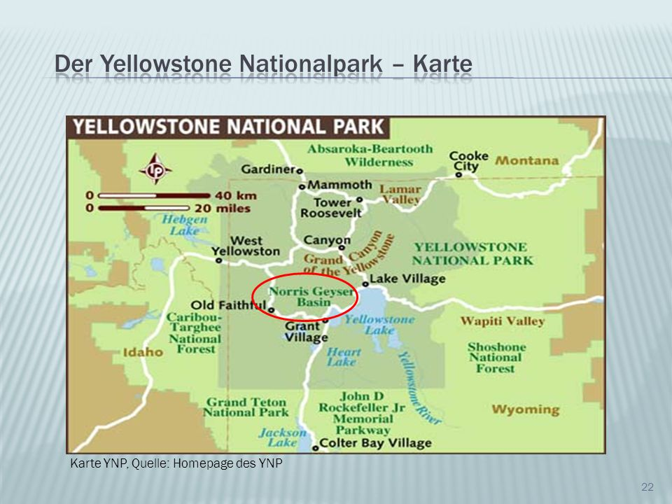 Der Yellowstone Nationalpark – Karte