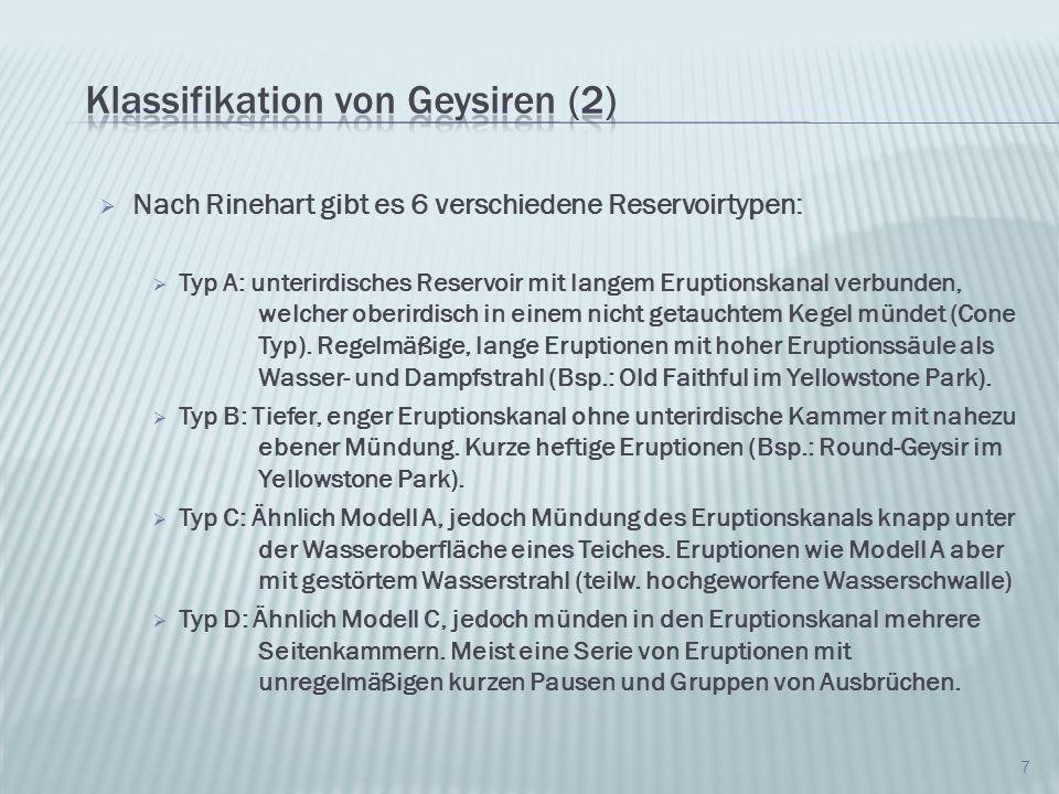 Klassifikation von Geysiren (2)