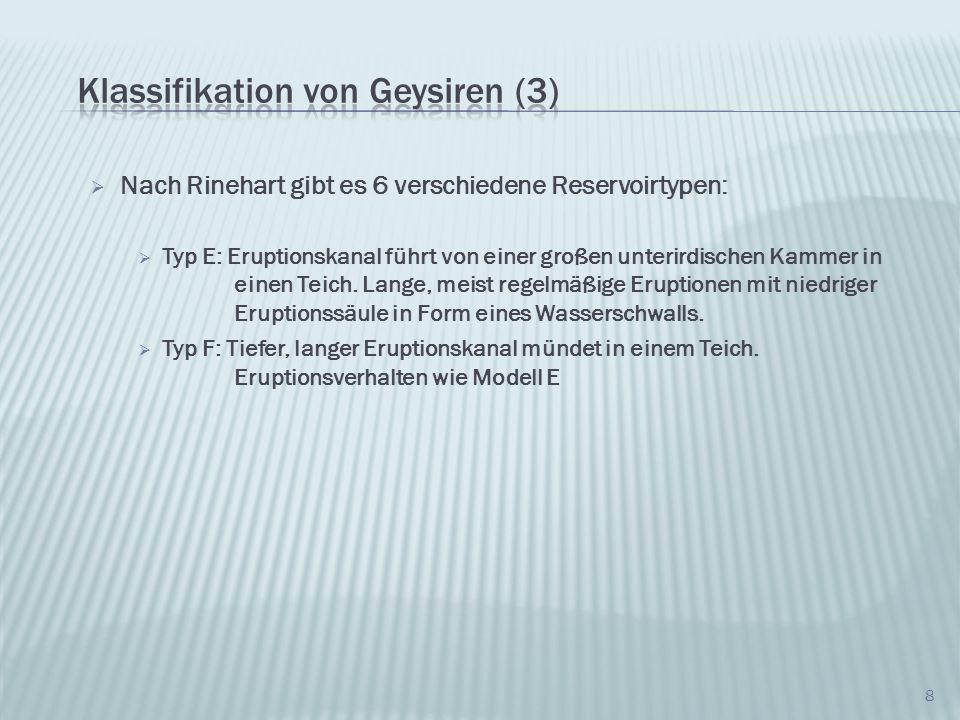 Klassifikation von Geysiren (3)